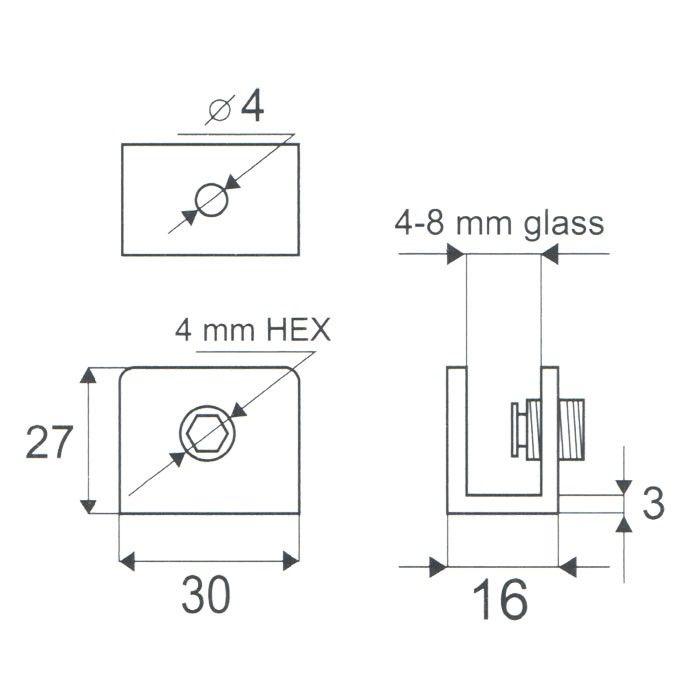 Glasplaatdrager Rettango