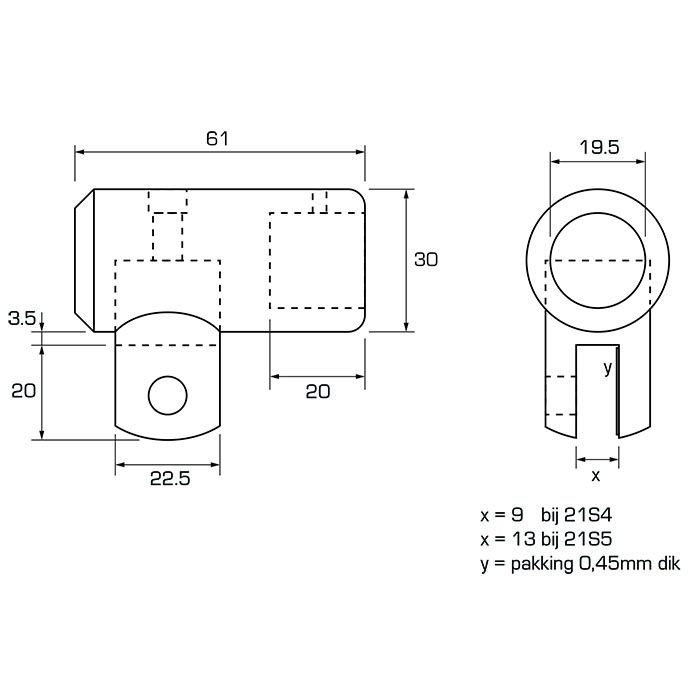 Glasbevestiging voor 6 - 8mm glasdikte