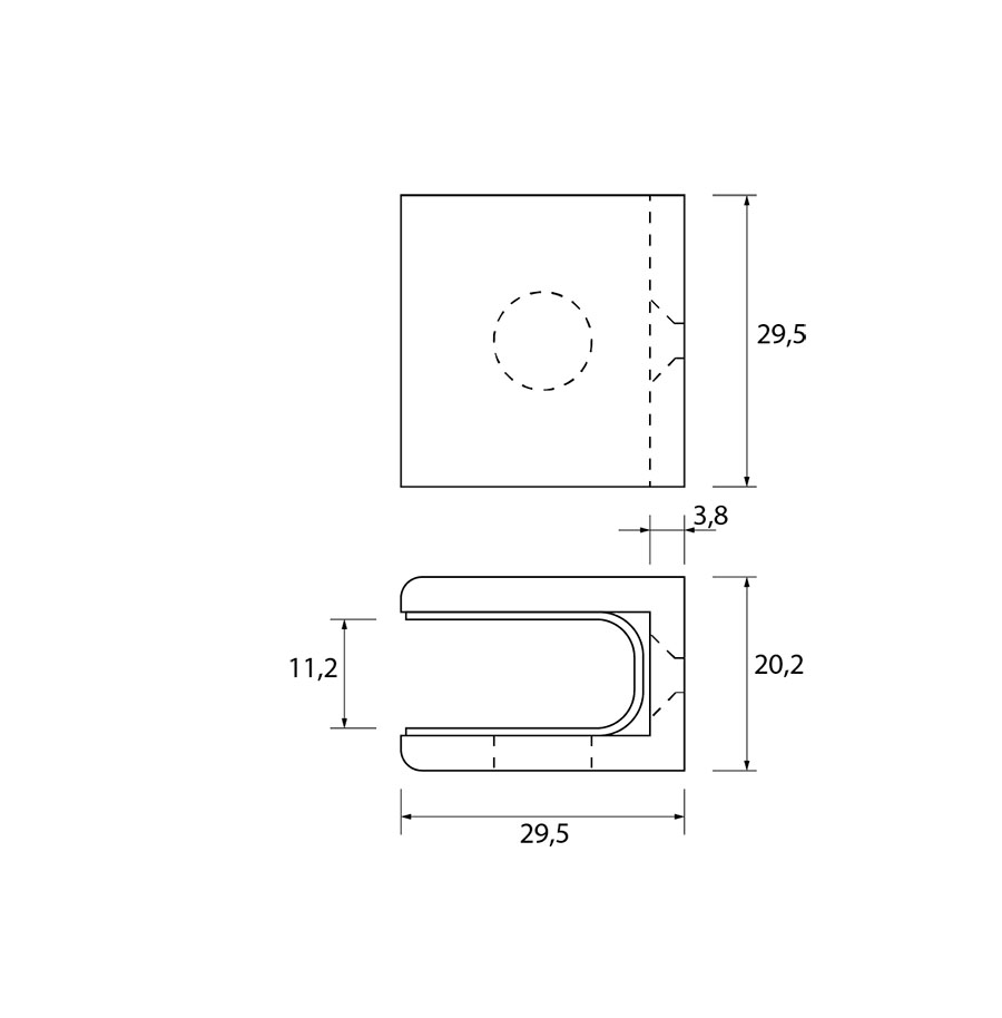 Glasplaatdrager GPD55