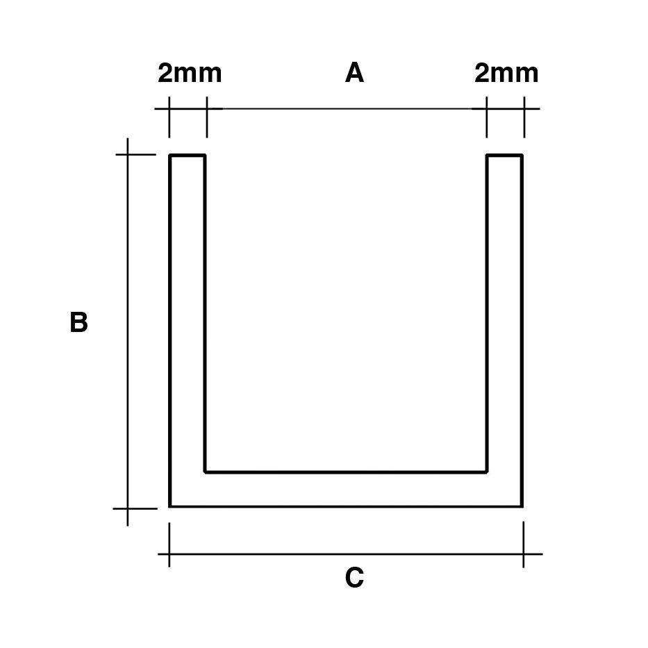 Zwarte u-profielen RAL9005 mat