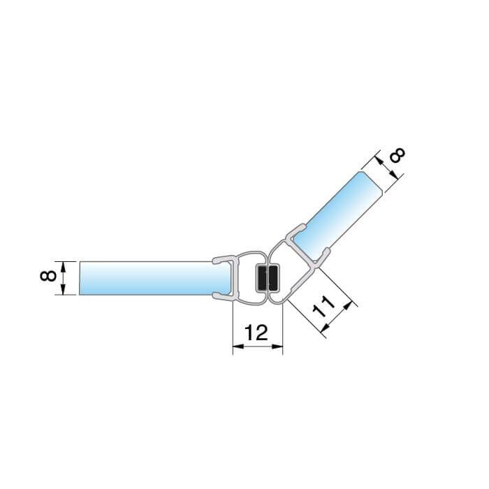 Zwarte magneetstrip schuine hoek 135º
