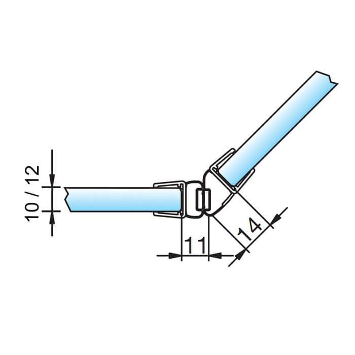 Magneetstrip schuine hoek 135º