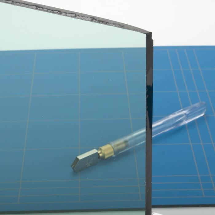 Rond glazen tafelblad gekleurd glas