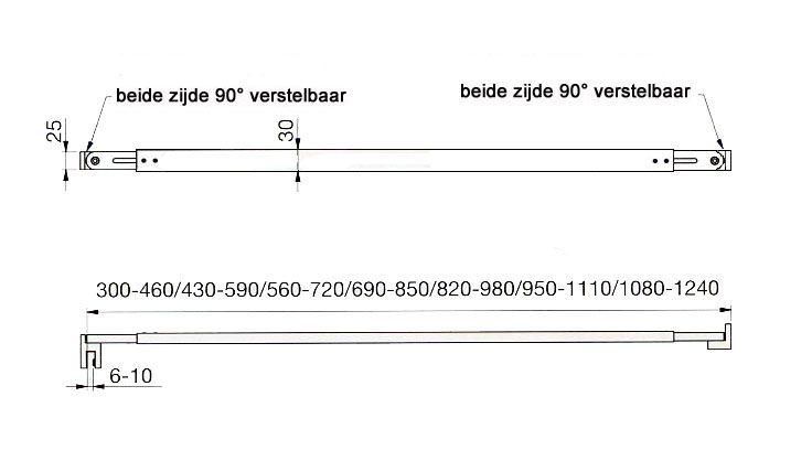 Stabilisatiestang wand - glas 820-980mm.