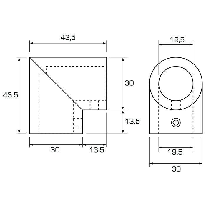 Hoekverbinder 90º voor buis van 19mm