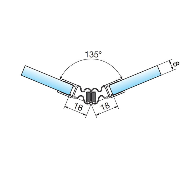 Magneetstrip in lijn met flexibele hoek