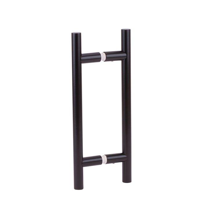 Zwarte schuifdeur gesloten rail en helder glas