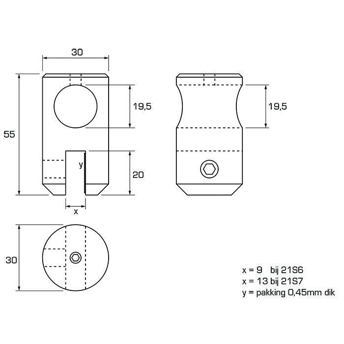Verplaatsbare bevestiging 6 - 8mm glas