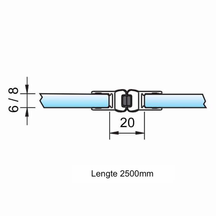 Magneetstrip in lijn dubbelzijdig